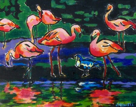 Flamingos and Friend